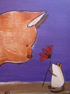 Original Painting, Wall Art for Nursery, Cat and Mouse, Peace by Andrea Doss. $50.00, via Etsy.