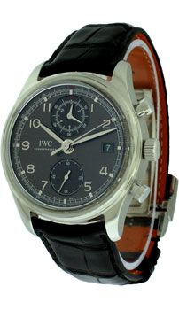 This IWC Portuguese Chronograph Classic Men's Watch features: Mechanical Chronograph Self-Winding movement with Hour, Minute, Second functions. Calibre 89361 (38 jewels), Flyback function. Date located at the 3 o'clock position. Stainless Steel case with fixed bezel, Case size : 42 mm, Grey Dial with Black Chronograph sub-dials, Gold applied Arabic hour markers and leaf shape hands. - http://www.worldofluxuryus.com/special/IWC/Portuguese/IW390404/185_210_6176.php#sthash.PqrNeh9H.dpuf
