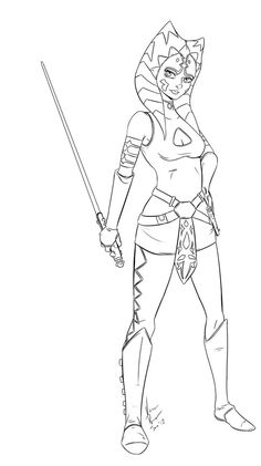 black and white coloring pages star wars ahsoka - Google Search