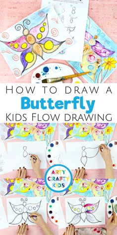 Flow Drawing for Kids: How to Draw a Butterfly - An alternative how to draw guide for kids that promotes mindfulness in creativity.