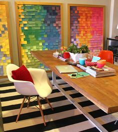 Dining and office by Kara Paslay - cheap and chic finds! Love her giant swatch panels and high contrast patterns.