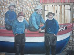 Colin Seal's mural of traditional fishermen, near The Mo in Sheringham and new for Norfolk England, Coastal Art, Seaside, Literature, Baseball Cards, Wall Art, History, Artist, Pictures