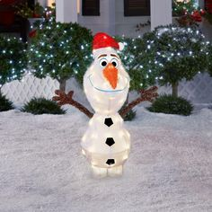 42in holiday christmas outdoor frozen 3d tinsel olaf lighted yard decoration - Outdoor Tinsel Christmas Decorations