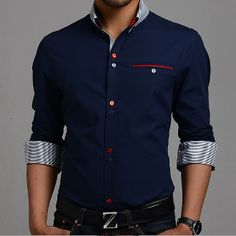 Men's Button Down Shirt with Red Details