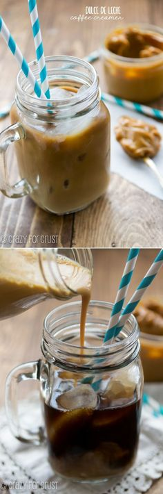 """Dulce de Leche Coffee Creamer - only 2 ingredients, easy, fast, and fool-proof. The perfect way to sweeten your morning coffee! Yummy Drinks, Yummy Food, Homemade Coffee Creamer, Smoothie Drinks, Smoothies, Coffee Drinks, Iced Coffee, Coffee Cake, Kakao"