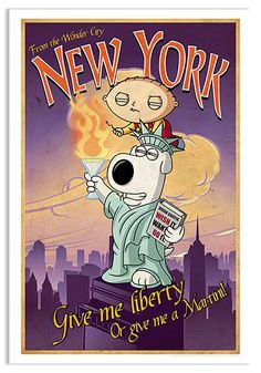 Family Guy Road to New York Lithograph Print Acme Archives Family Guy Artwork Brian Family Guy, Litho Print, Popular Kids Toys, Tattoo Flash Art, French Street Fashion, Getty Museum, Art Gallery, New York, Entertaining