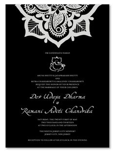 Black Tie Wedding Invitations - Hena Flower on 100% recycled paper - Hena Flower by ForeverFiances Weddings