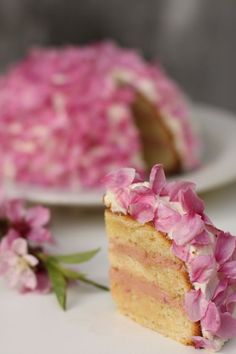 Cherry Bombe by playingwithfire: How lovely is this? Bitter almond cake with sour cherry filling, coconut almond frosting and cherry blossom petals. #Cherry_Bombe #Cake #Cherry_Cake #playingwithfire