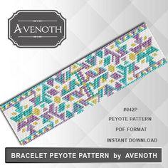 Peyote bracelet pattern, peyote pattern, stitch pattern, pdf file, pdf pattern, #046P