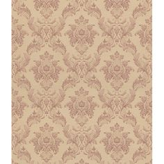 Intricate floral blush damask swirl across gold background in this elegant wallpaper design. This wallpaper highlights a solid sheet vinyl construction that adds depth and character.