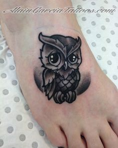 Cute Owl Tattoo on foot by AlainGarciaTattoos on deviantART