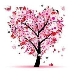 tree of love, hearts and butterflies
