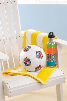"""Duck Tape decorated soccer ball form the book """"Go Crazy with Duct Tape"""""""
