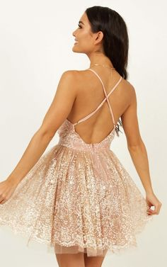 Complete your look with the Drop Of Magic Dress In Rose Gold from Showpo! Rose Gold Party Dress, Gold Dress, Dress Party, Sweet 16 Dresses, Cute Dresses, Formal Dresses, Dama Dresses, Wedding Dresses, Rose Gold Quinceanera Dresses
