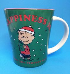 Peanuts Linus Coffee Mug Cup Happiness is Finding the Perfect Gift Christmas #Peanuts