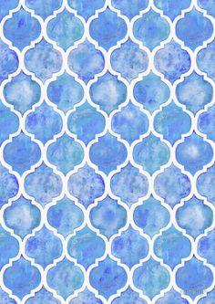 Cornflower Blue Moroccan Watercolor Pattern by micklyn