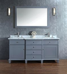 Adana 60 inch Gray Double Sink Bathroom Vanity Set gorgeous unit offers a breakfront styling, which is provided with four functional drawers at the center and is flanked by one single-door cabinet on each side. The front panels are enriched with brushed nickel hardware and sleek molding, while a carrara white marble top adorns the counter that comes included with an undermount porcelain basin.