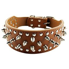 17'-20' Black Faux Leather Spiked Studded Dog Collar 2' Wide, 31 Spikes 52 Studs, Pit Bull, Boxer * Continue to the product at the image link.(It is Amazon affiliate link) #DogsHarness