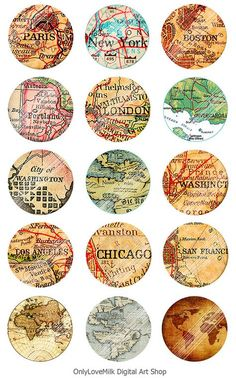 Vintage Map by OnlyLoveMilk Bottle Cap Art, Bottle Cap Crafts, Bottle Cap Images, Vintage Ephemera, Vintage Maps, Carta Collage, Collage Sheet, Map Collage, Travel Scrapbook