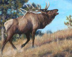 Elk painting by Val Warner