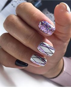 103 pretty nail art designs ideas for 2019 nails unghie gel. Pretty Nail Designs, Pretty Nail Art, Short Nail Designs, Beautiful Nail Art, White Acrylic Nails With Glitter, White Nail Art, Glitter Nails, Purple Glitter, White Art