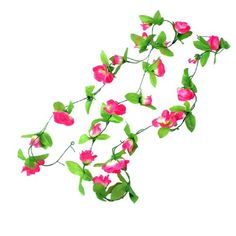 2.5M Green Leaves Fabric Fuchsia Roses Artificial Hanging Flower Bouquet