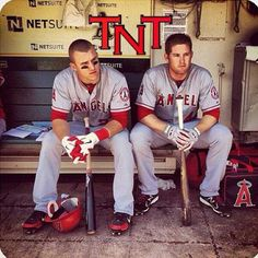 Mike Trout and Mark Trumbo of the LA Angels of Anaheim