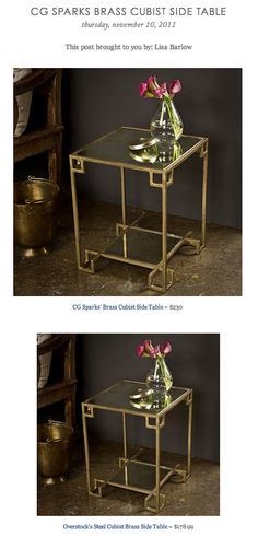 CG SPARKS BRASS CUBIST SIDE TABLE vs OVERSTOCK'S STEEL CUBIST BRASS SIDE TABLE