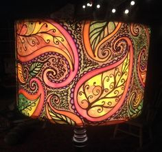 Autumn Leaf & Paisley, Hand Silk Painted Lamp Shade, Multi-Colour, 40cm Drum, Made To Order