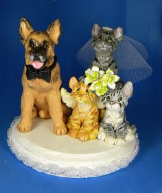 Wedding Cake Topper German Shepherd and 3 cats