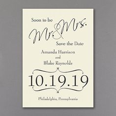 Big Announcement Save the Date - Ecru 40% OFF  |  http://mediaplus.carlsoncraft.com/Wedding/Save-the-Dates/3159-VZSD18234EC-Big-Announcement--Save-the-Date--Ecru.pro  |  VZSD18234EC Make the announcement: you've set the date! Typography shows off the information in your choice of ink color on this petite, ecru save the date card.