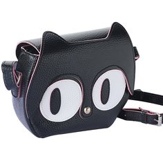 Petit sac à main pour femme en forme de tête de chat avec de très gros yeux. Sac noir avec finissions roses