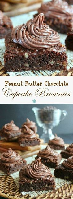 Peanut Butter Chocolate Cupcake Brownies are the best of four worlds. Rich chocolate brownies with a creamy chocolate peanut butter cupcake frosting.
