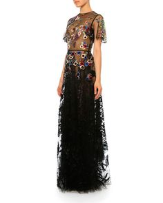 W08JH Valentino Floral Short-Sleeve Tulle Gown, Multi
