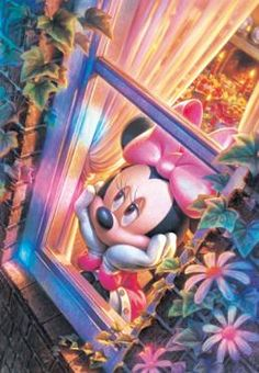 D-1000-352 Tenyo Disney Minnie Mouse of Window Side Jigsaw Puzzles Mickey Mouse Wallpaper Iphone, Cute Disney Wallpaper, Retro Disney, Disney Art, Disney Images, Disney Pictures, Mickey Mouse And Friends, Disney Mickey Mouse, Princesas Disney Dark