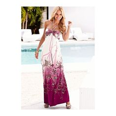 Halter maxi dress from VENUS ($52) ❤ liked on Polyvore