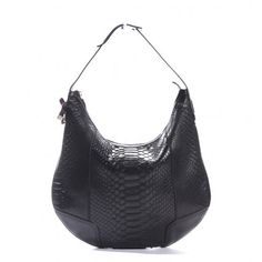 Gucci  Gucci Black Python Skin Princy Hobo Shoulder Bag