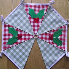 Christmas Holly Garland Bunting with Laura Ashley gingham £13.50