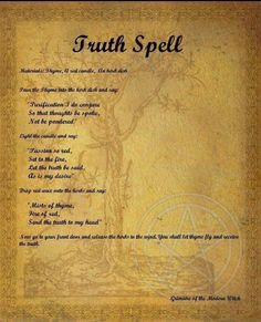 Truth spell - Pinned by The Mystic's Emporium on Etsy Witchcraft Spell Books, Wiccan Spell Book, Wiccan Witch, Magick Spells, Witch Spell, Hoodoo Spells, Truth Spell, Witchcraft Spells For Beginners, Candle Magic