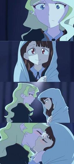 First Kiss [Little Witch Academia] Anime Girlxgirl, Lwa Anime, Yuri Anime, Anime Kiss, Anime Kawaii, Anime Naruto, Little Witch Academia Diana, Little Wich Academia, Cute Lesbian Couples