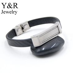 Custom mens braided leather bracelet stainless steel matted cable charms fitbit lether bracelet men
