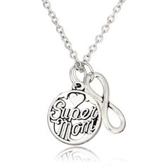 Super Mom Infinity Double Pendant Necklace