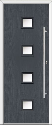 4 Square Glazed Composite Front Door black with a Side Light ...