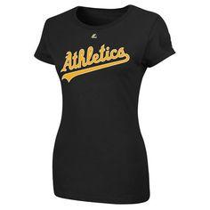 Oakland Athletics Women's Black Wordmark T-Shirt « Clothing Impulse