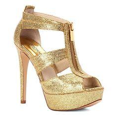 Michael Michael Kors Berkley Platform Damen US 9.5 Gold Plateauschuh
