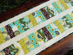 Green Blue and Brown Modern Table Runner by FrivolousNecessity