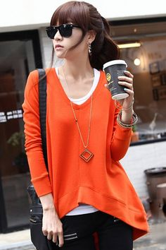 Impression of fashionable Korea 2012 Korean ladies  spring and autumn installing new solid color v neck code loose long sleeve t-shirt