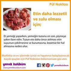 YEMEK YAPMANIN PÜF NOKTALARI : Etin daha lezzetli ve sulu olması için...  http://yemekkulubum.com/puf-noktasi-liste/yemek-hazirlama-ile-ilgili-puf-noktalari  #yemek #etyemeği #yemekhazırlama #etpişirmeninpüfnoktası #yemekyapma #püfnoktası #püfnoktaları #pratikbilgiler #ipucu #ipuçları #etyemekleri