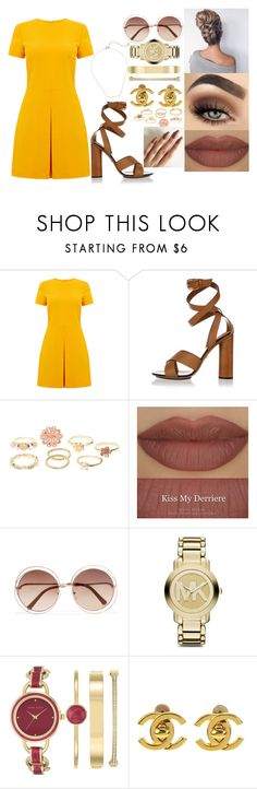 """💛💛💛"" by msroro12 ❤ liked on Polyvore featuring Warehouse, Gucci, Charlotte Russe, Derriére, Chloé, Michael Kors, Anne Klein, Chanel and Gorjana"