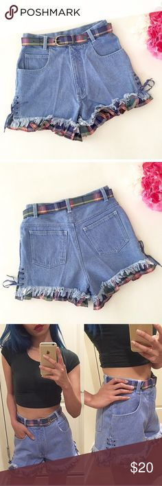 adorable denim shorts high-waisted shorts with plaid ruffle detail and matching belt // uo for exposure only Urban Outfitters Shorts Jean Shorts